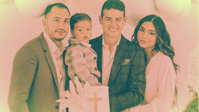 James y Juana, durante el bautizo de Samuel.