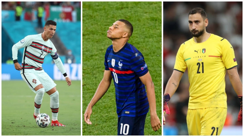 Cristiano Ronaldo (35), Kyllian Mbappé (22) y Donnarumma (22).