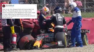 Verstappen, indginado con la actitud de Hamilton celebrando en el...