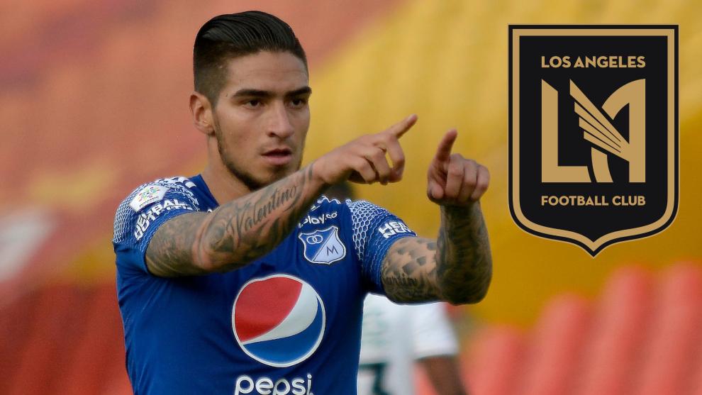 Cristian 'Chicho' Arango y el escudo de Los Ángeles FC.