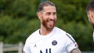 Sergio Ramos (35) en un entrenamiento con el Paris Saint Germain.