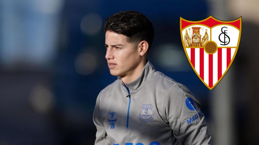 James Rodríguez y el escudo del Sevilla.
