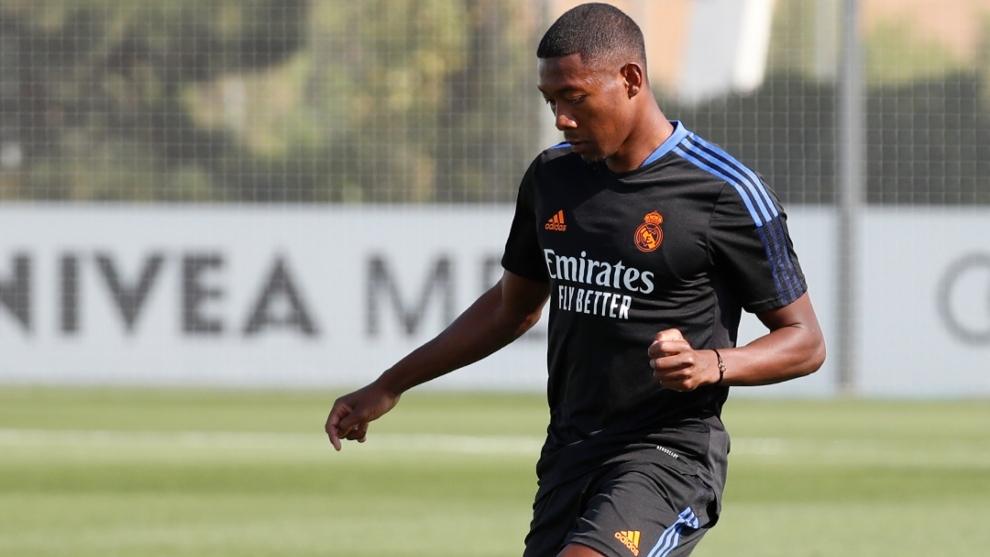 David Alaba (29) en su primer entrenamiento con el Real Madrid.