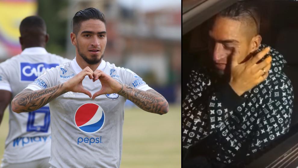 Cristian Arango, en un partido, y en su despedida de Millonarios.