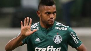 Miguel Ángel Borja, en un partido con Palmeiras.