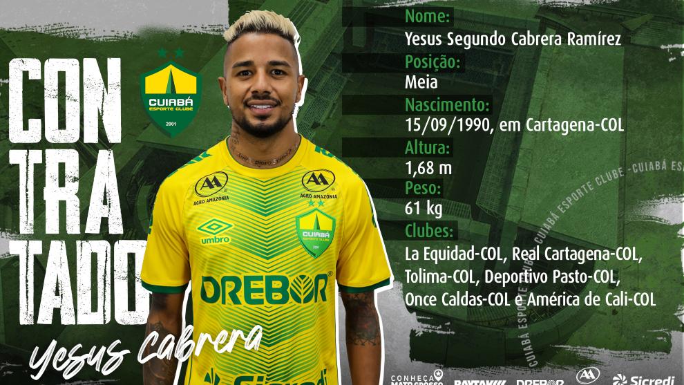 Yesus Cabrera, con la camiseta del Cuiabá de Brasil.
