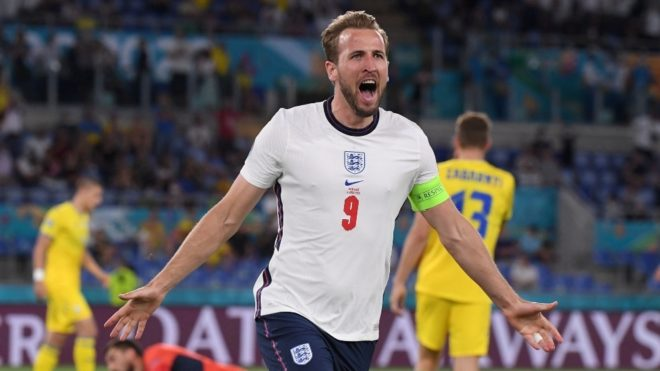 Kane celebra un gol con Inglaterra en la Eurocopa