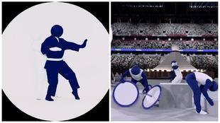 Los pictogramas en la ceremonia de inauguración de los Juegos...