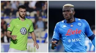 Las camisetas del Wolfsburgo y del Napoli.
