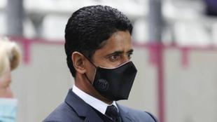 Nasser Al-Khelaifi en un entrenamiento del PSG.