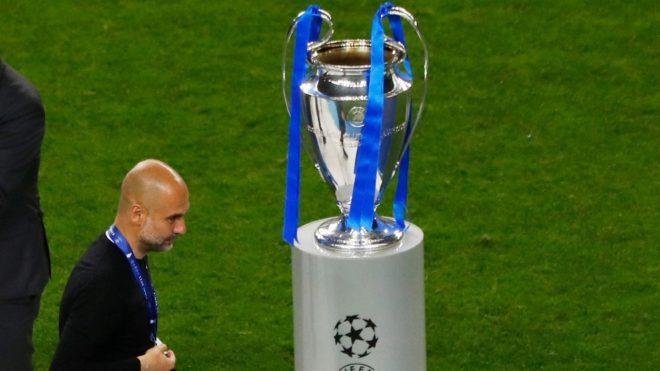 Guardiola, durante la última final de la Champions con el City