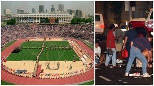 Estadio Olímpico de Atlanta y una imagen del día del atentado.