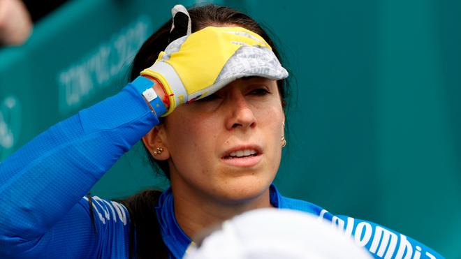 Mariana Pajón se lamenta tras acabar segunda en la final del BMX.