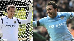 Collage de David González y Carlos Tévez, en el Manchester City.