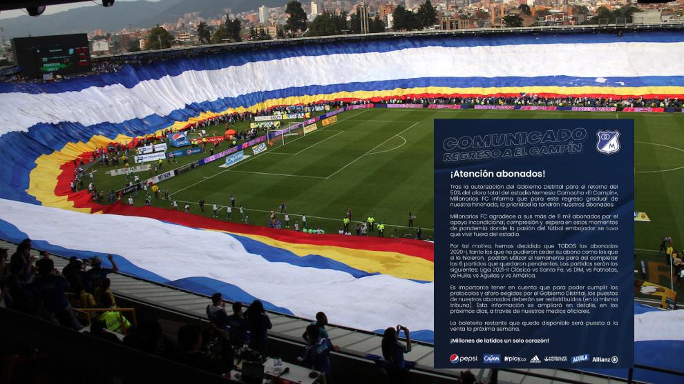 El comunicado de Millonarios para el regreso de hinchas al estadio.