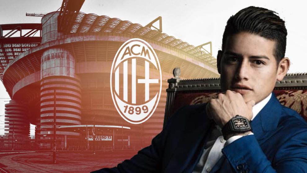 Diseño de James Rodríguez y el Estadio San Siro de Milán.