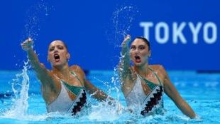 El dúo olímpico griego en plena competición en Tokyo.
