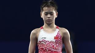 Hongchan Quan antes de hacer uno de sus saltos.