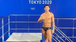 Sebastián Villa (29) durante un entrenamiento en Tokyo.