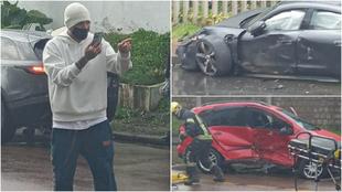 Paolo Guerrero y el accidente en su carro.