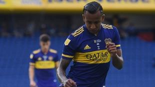 Uno de sus últimos festejos con la camiseta de Boca Juniors.