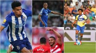 Luis Díaz, Yerry Mina, Bacca, Luis Suárez y Cuadrado