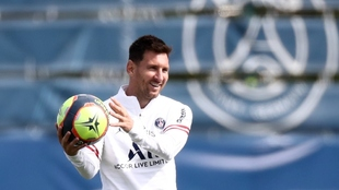 Lionel Messi durante entrenamiento del PSG.