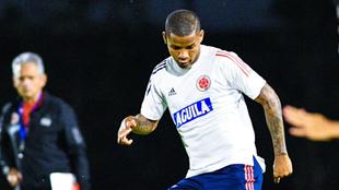 Wilmar Barrios, en un entrenamiento con la Selección Colombia.