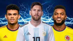 Diseño de Luis Díaz, Lionel Messi y Miguel Ángel Borja.