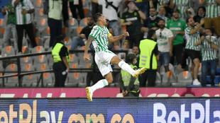 Jefferson Duque celebra su gol ante La Equidad.