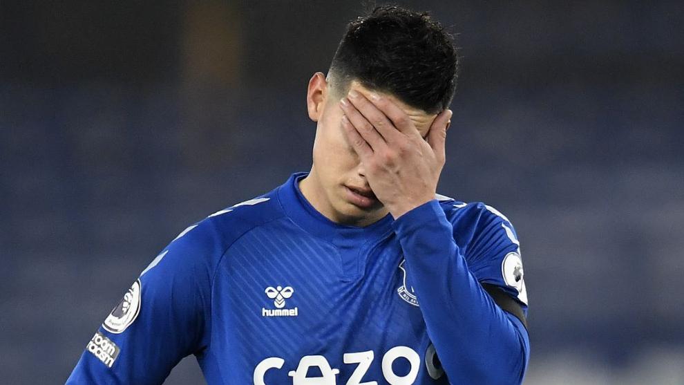 James Rodríguez, durante un partido de la Premier con el Everton
