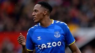 Yerry Mina, en un partido con el Everton.