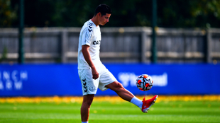 James Rodríguez, en un entrenamiento del Everton.
