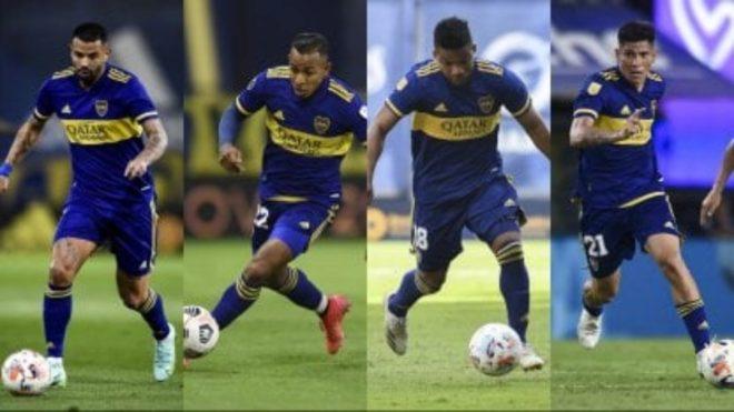 Cardona, Villa, Fabra y Campuzano, con la camiseta de Boca.