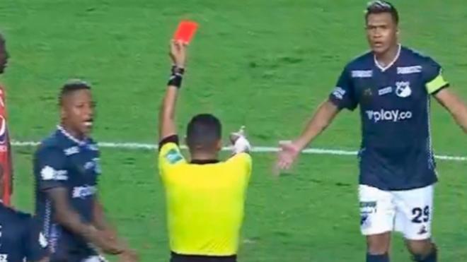 Expulsión de Teófilo Gutiérrez en el partido ante América.