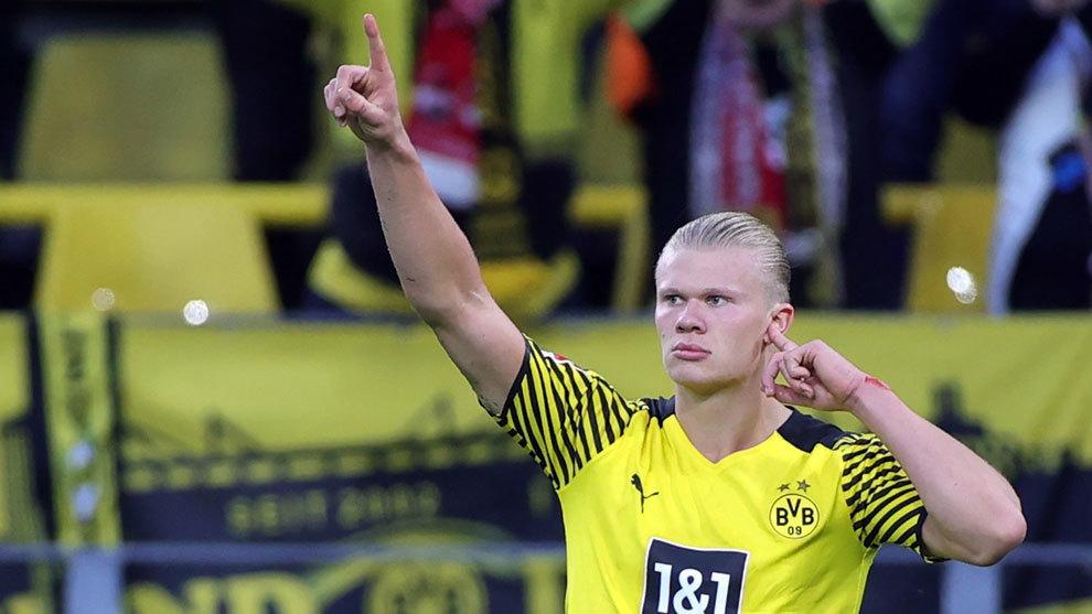 Haaland celebrates one of his goals against Uni