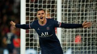 Mauro Icardi celebra su gol sobre la hora contra el Lyon.