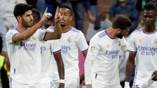 Celebración de un gol en el partido contra el Mallorca