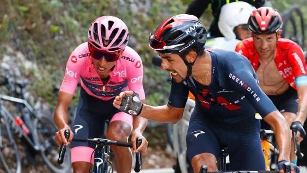 Egan Bernal y Daniel Martínez en el Giro de Italia