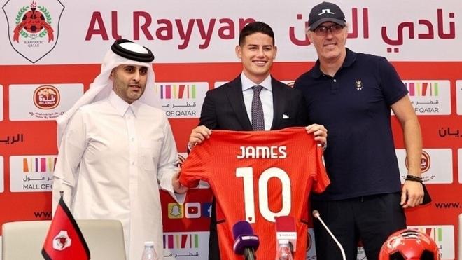 James Rodríguez en su presentación con el Al-Rayyan.