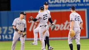 Los New York Yankees celebrando una carrera