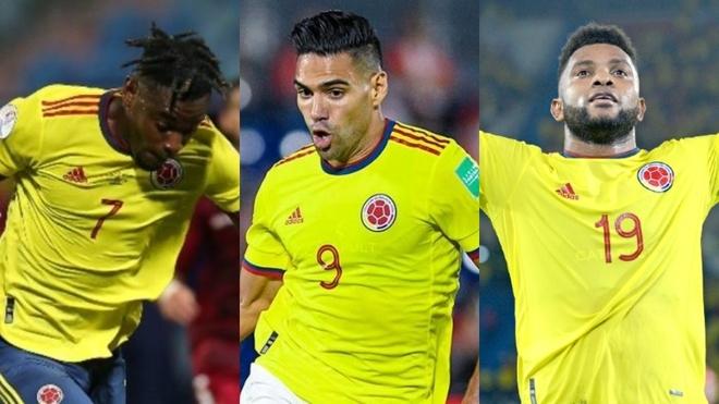 Duván Zapata, Falcao García y Miguel Ángel Borja con la Selección...