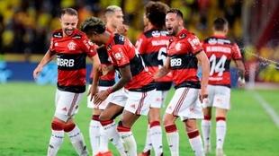 Flamengo celebrando su clasificación a la final.
