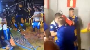 Jugadores de Boca Juniors contra la policía en Brasil