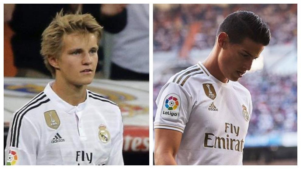 Martin Odegaard y James Rodríguez en Real Madrid