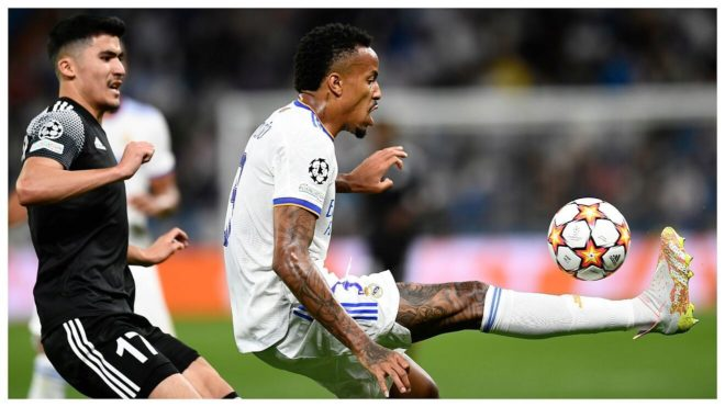 Militao clears the ball in a match with Real Madrid