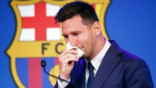 Leo Messi en su despedida del FC Barcelona