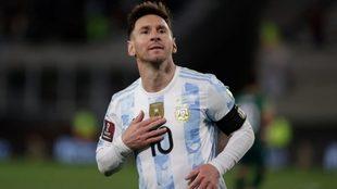 Messi celebra un gol con Argentina
