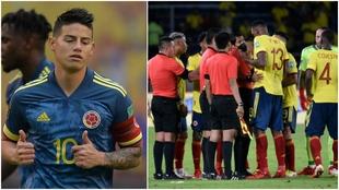 Un montaje entre James Rodríguez y el empate de Colombia