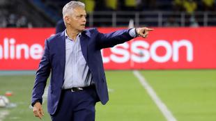 Reinaldo Rueda da indicaciones en el Colombia vs Ecuador.